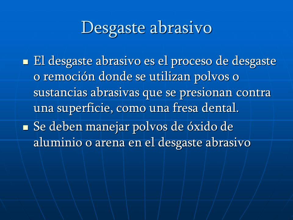 Desgaste por erosión Es el proceso de desgaste o remoción para eliminar pigmentos o limpiar superficies dentales, en donde un polvo abrasivo se impacta contra una superficie impulsado por una corriente de aire o agua, como el arenador o el hidroarenador.