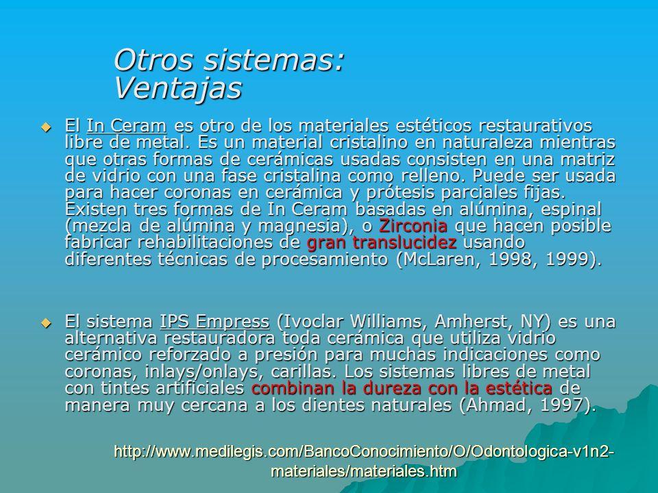 http://www.medilegis.com/BancoConocimiento/O/Odontologica-v1n2- materiales/materiales.htm El In Ceram es otro de los materiales estéticos restaurativo