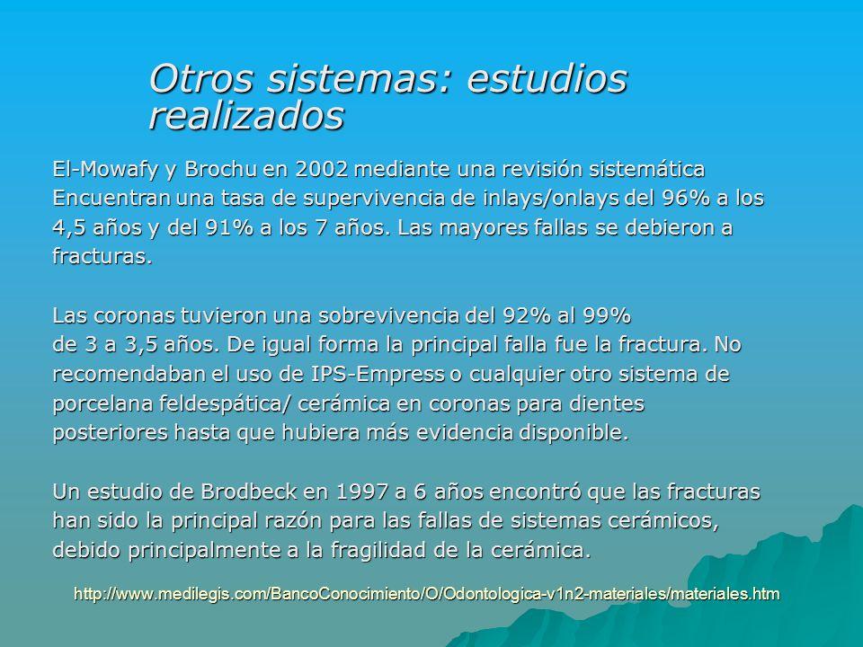 http://www.medilegis.com/BancoConocimiento/O/Odontologica-v1n2-materiales/materiales.htm El-Mowafy y Brochu en 2002 mediante una revisión sistemática