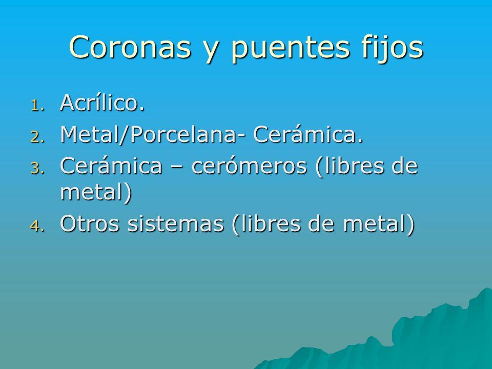 Coronas y puentes fijos 1. Acrílico. 2. Metal/Porcelana- Cerámica. 3. Cerámica – cerómeros (libres de metal) 4. Otros sistemas (libres de metal)