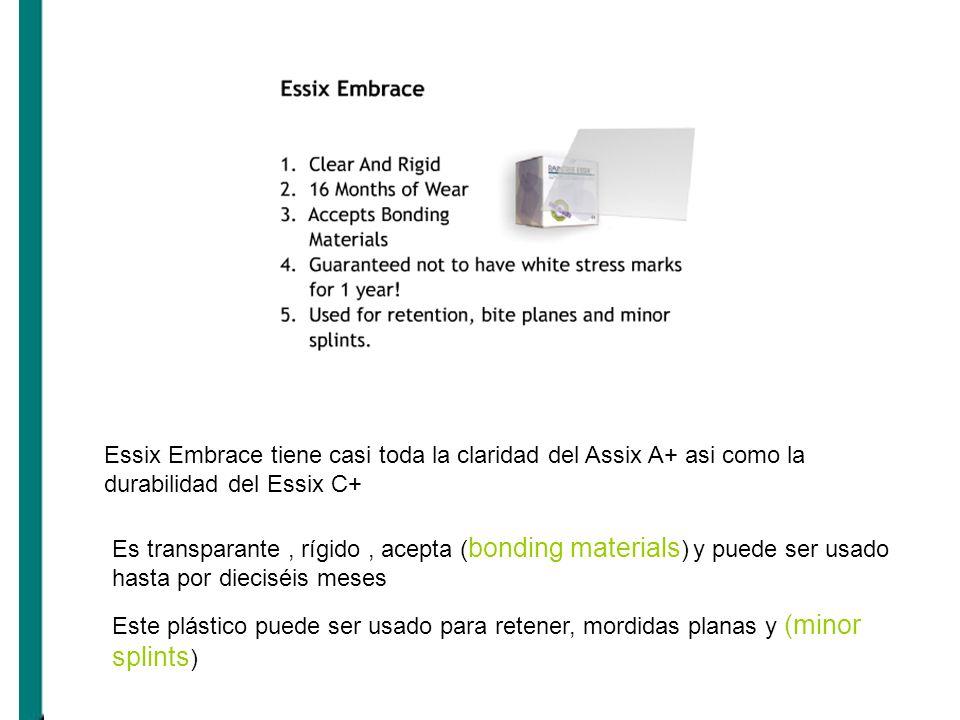Essix Embrace tiene casi toda la claridad del Assix A+ asi como la durabilidad del Essix C+ Es transparante, rígido, acepta ( bonding materials ) y pu
