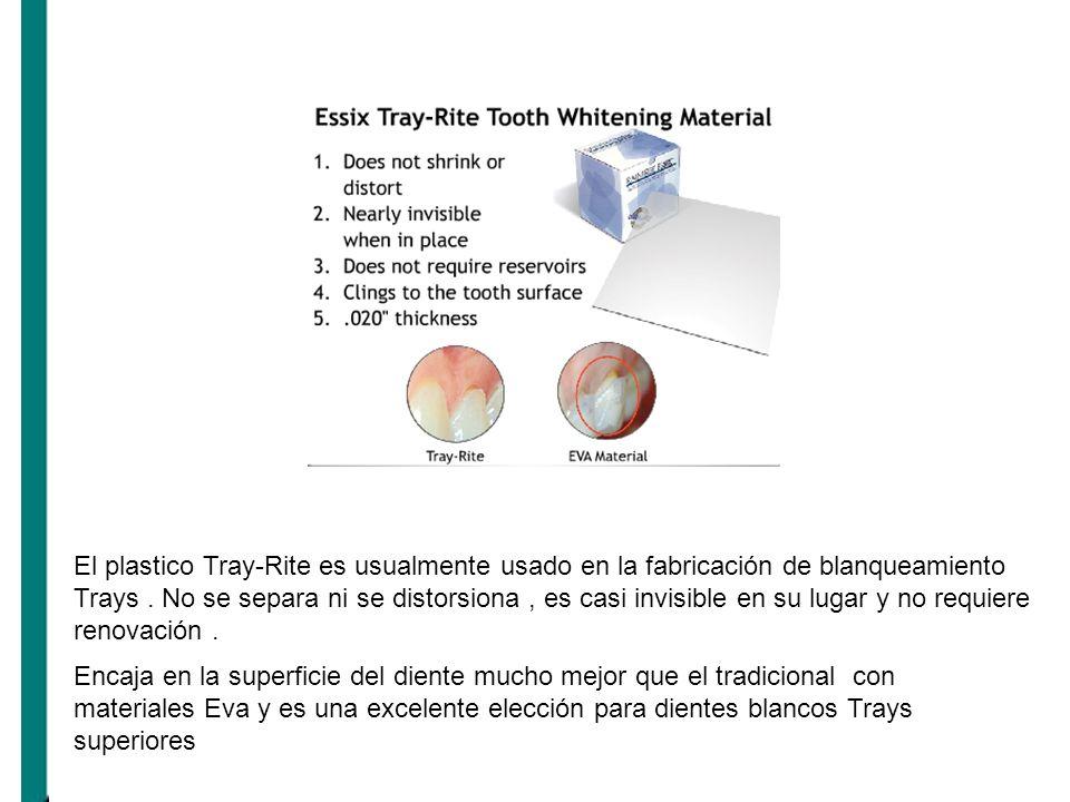 El plastico Tray-Rite es usualmente usado en la fabricación de blanqueamiento Trays. No se separa ni se distorsiona, es casi invisible en su lugar y n