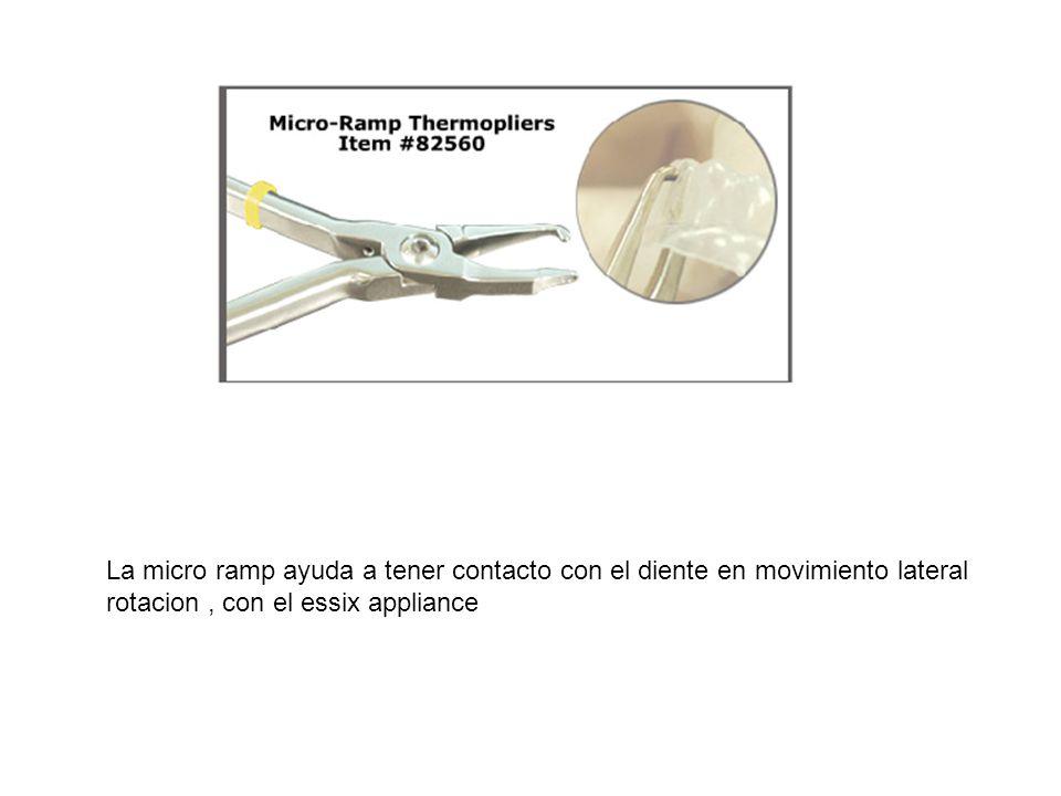 La micro ramp ayuda a tener contacto con el diente en movimiento lateral rotacion, con el essix appliance