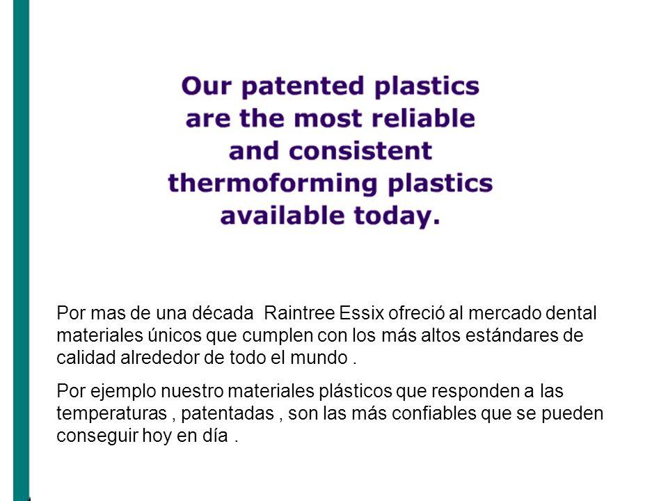 Por mas de una década Raintree Essix ofreció al mercado dental materiales únicos que cumplen con los más altos estándares de calidad alrededor de todo