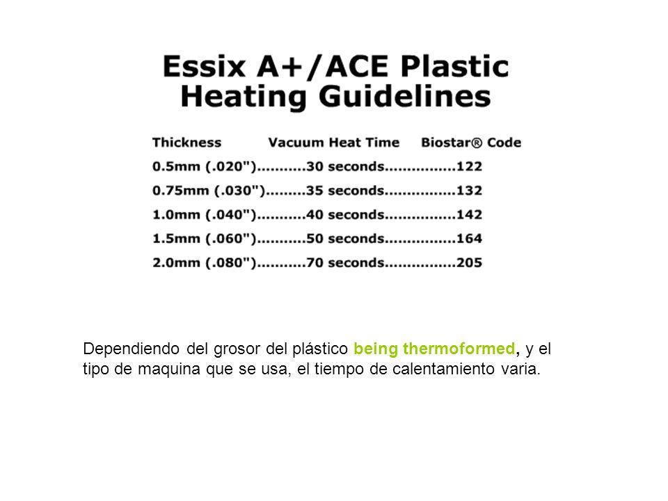 Dependiendo del grosor del plástico being thermoformed, y el tipo de maquina que se usa, el tiempo de calentamiento varia.