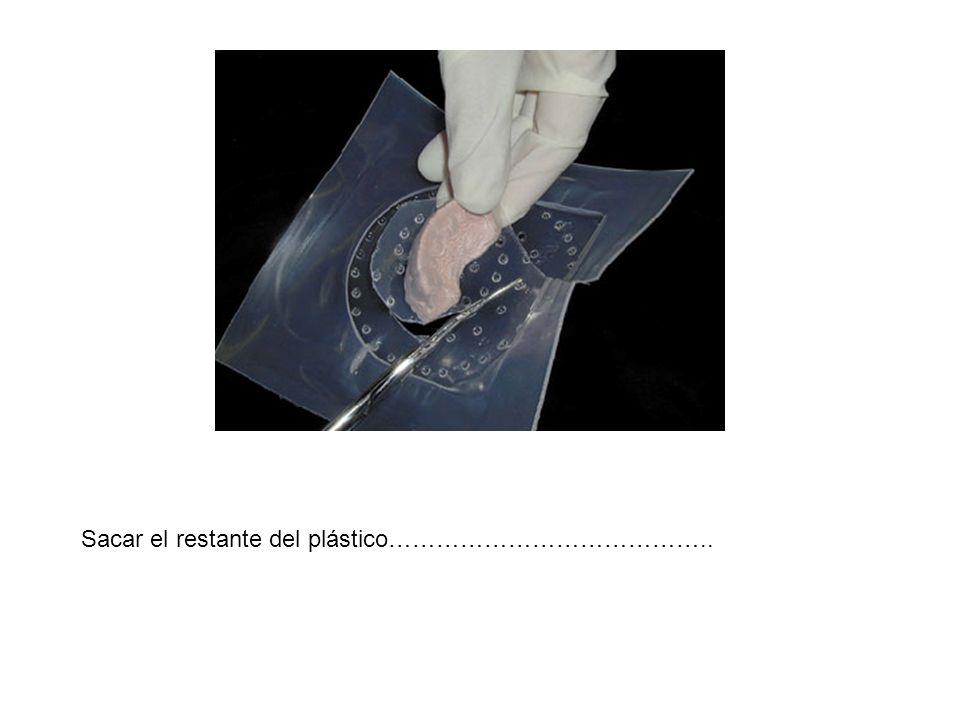 Sacar el restante del plástico…………………………………..