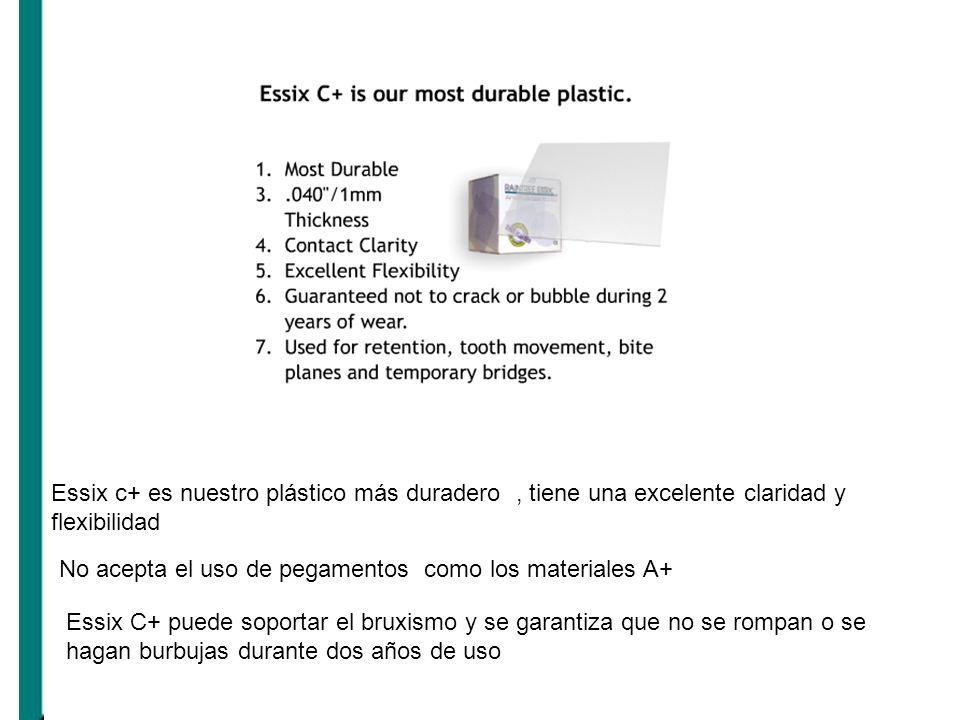 Essix c+ es nuestro plástico más duradero, tiene una excelente claridad y flexibilidad No acepta el uso de pegamentos como los materiales A+ Essix C+