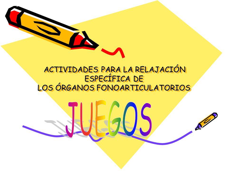 ACTIVIDADES PARA LA RELAJACIÓN ESPECÍFICA DE LOS ÓRGANOS FONOARTICULATORIOS ACTIVIDADES PARA LA RELAJACIÓN ESPECÍFICA DE LOS ÓRGANOS FONOARTICULATORIOS ACTIVIDADES PARA LA RELAJACIÓN ESPECÍFICA DE LOS ÓRGANOS FONOARTICULATORIOS