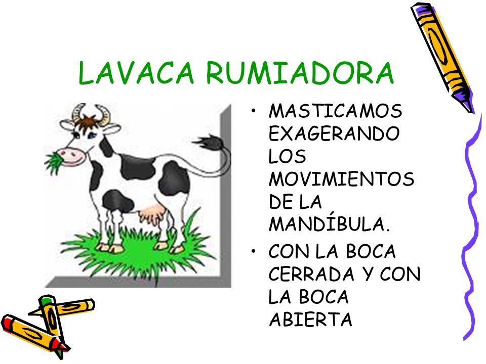 LAVACA RUMIADORA MASTICAMOS EXAGERANDO LOS MOVIMIENTOS DE LA MANDÍBULA.