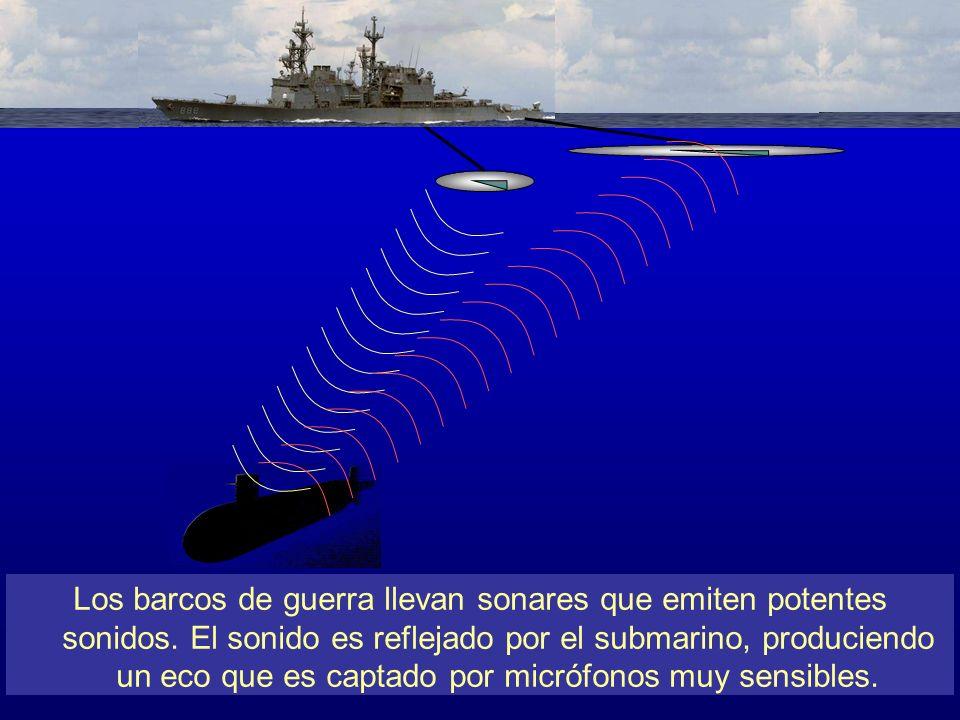 Los barcos de guerra llevan sonares que emiten potentes sonidos. El sonido es reflejado por el submarino, produciendo un eco que es captado por micróf