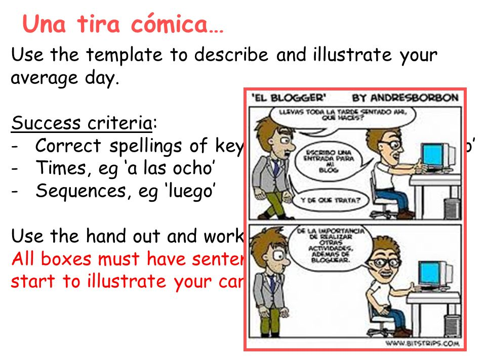 Una tira cómica… Use the template to describe and illustrate your average day. Success criteria: -Correct spellings of key phrases, eg me despierto -T