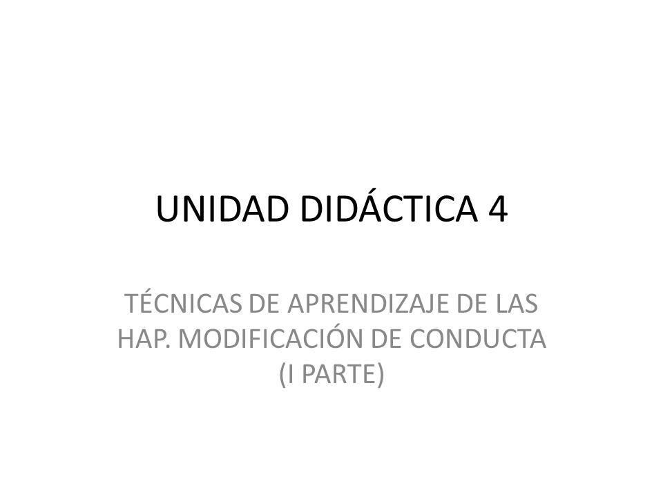 INTRODUCCIÓN TÉCNICAS DE MODIFICACIÓN DE CONDUCTA Técnicas para perfeccionar o incrementar conductas Técnicas para la nueva adquisición de conductas Técnicas para la eliminación de conductas no deseadas ANEXOS UD 4….