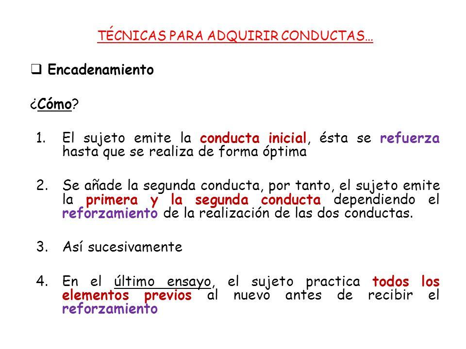 TÉCNICAS PARA ADQUIRIR CONDUCTAS… Encadenamiento ¿Cómo.
