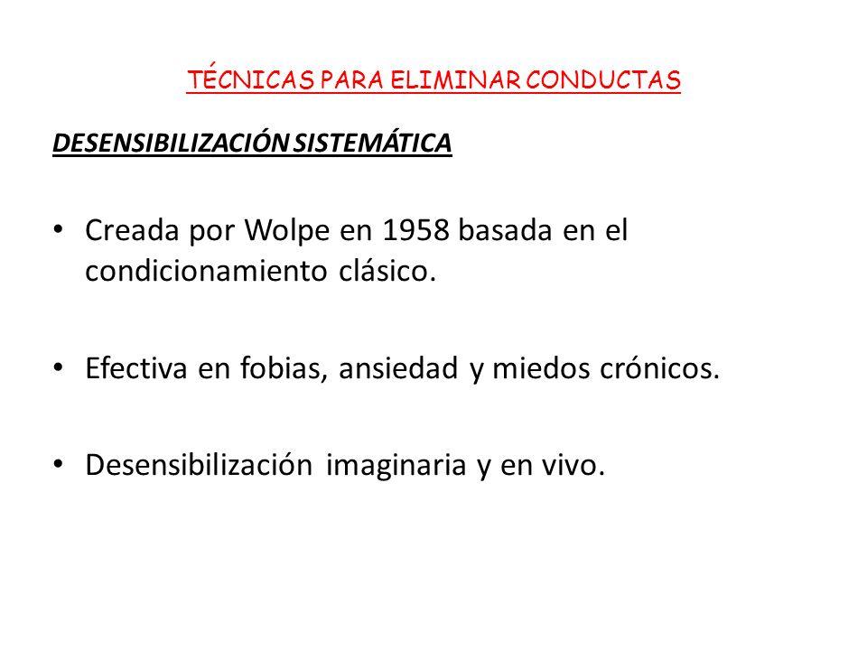 TÉCNICAS PARA ELIMINAR CONDUCTAS DESENSIBILIZACIÓN SISTEMÁTICA Creada por Wolpe en 1958 basada en el condicionamiento clásico.