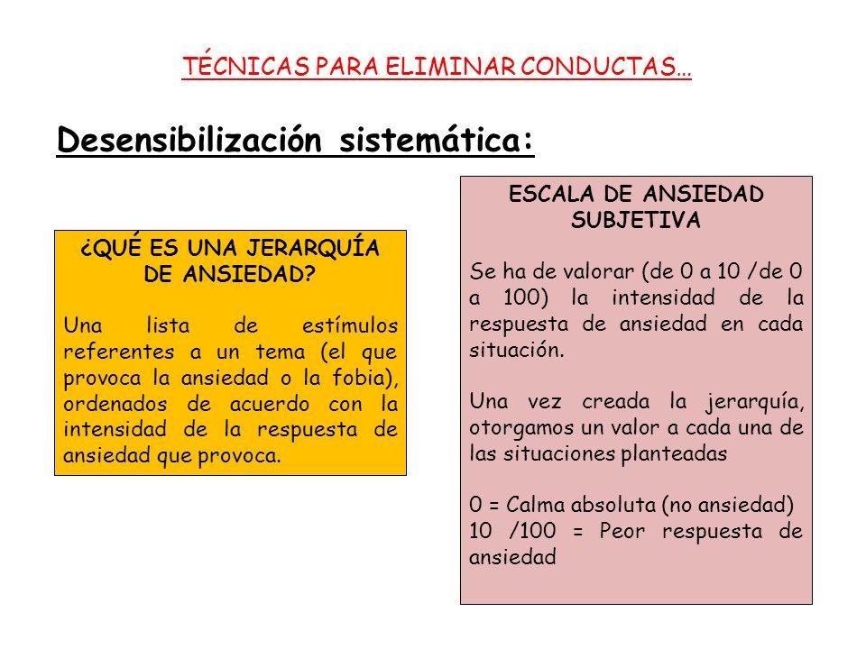 TÉCNICAS PARA ELIMINAR CONDUCTAS… Desensibilización sistemática: ¿QUÉ ES UNA JERARQUÍA DE ANSIEDAD.