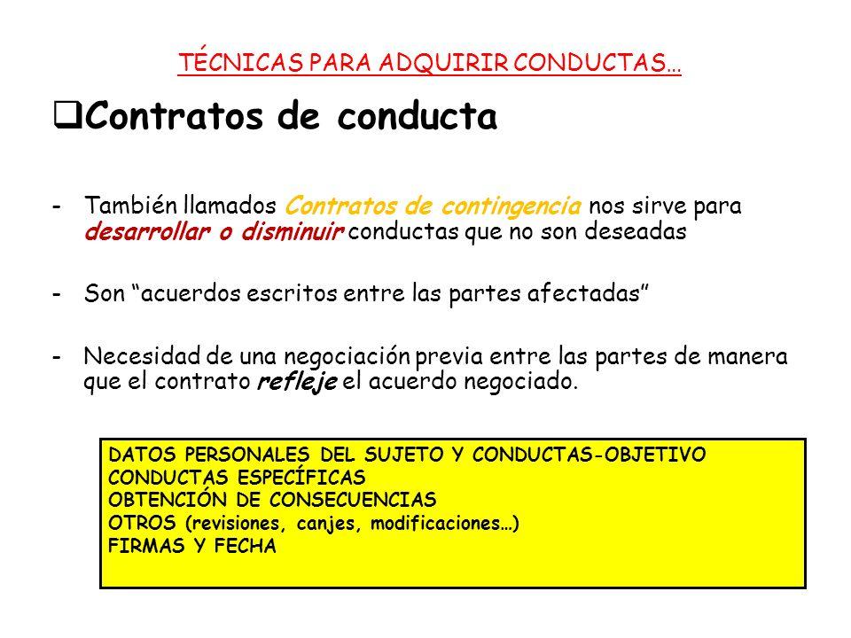 Contratos de conducta -También llamados Contratos de contingencia nos sirve para desarrollar o disminuir conductas que no son deseadas -Son acuerdos escritos entre las partes afectadas -Necesidad de una negociación previa entre las partes de manera que el contrato refleje el acuerdo negociado.