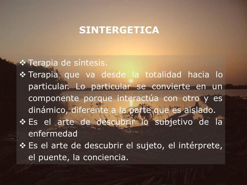SINTERGETICA Terapia de síntesis. Terapia que va desde la totalidad hacia lo particular. Lo particular se convierte en un componente porque interactúa