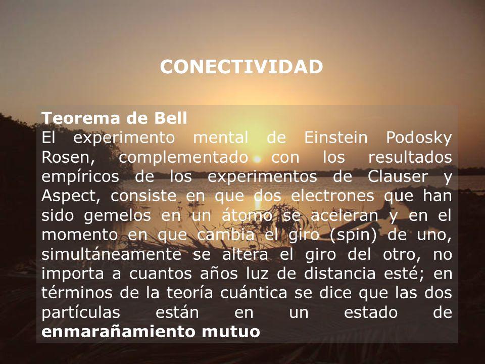CONECTIVIDAD Teorema de Bell El experimento mental de Einstein Podosky Rosen, complementado con los resultados empíricos de los experimentos de Clause