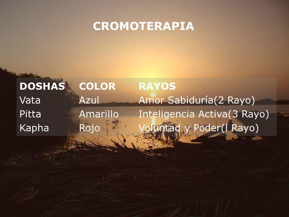 CROMOTERAPIA DOSHASCOLORRAYOS VataAzulAmor Sabiduría(2 Rayo) PittaAmarilloInteligencia Activa(3 Rayo) KaphaRojoVoluntad y Poder(l Rayo)