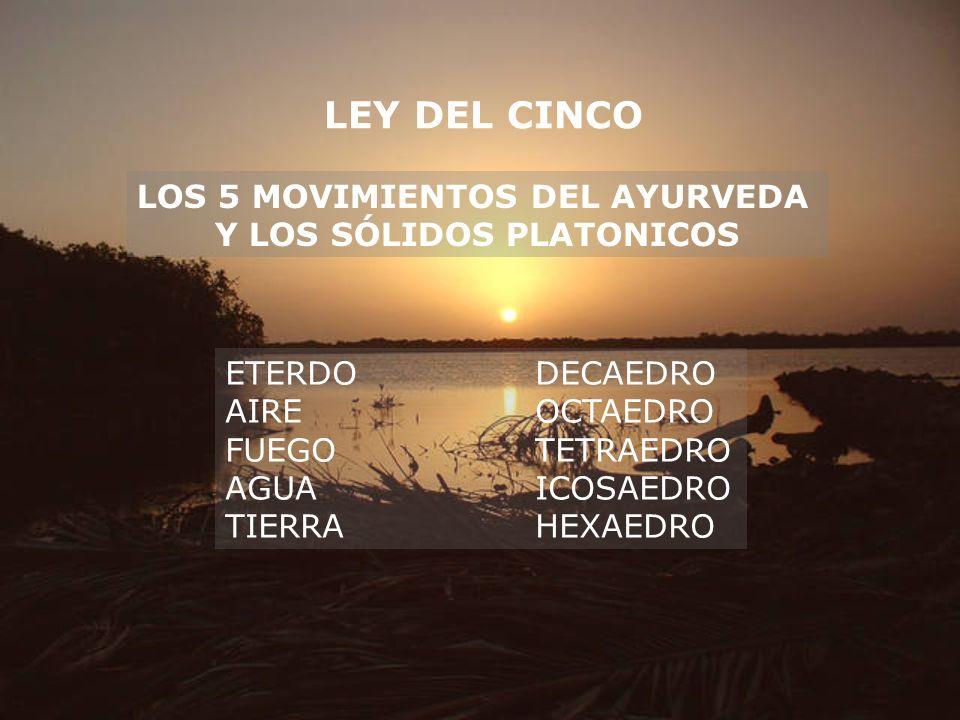 LEY DEL CINCO LOS 5 MOVIMIENTOS DEL AYURVEDA Y LOS SÓLIDOS PLATONICOS ETERDODECAEDRO AIREOCTAEDRO FUEGOTETRAEDRO AGUAICOSAEDRO TIERRAHEXAEDRO