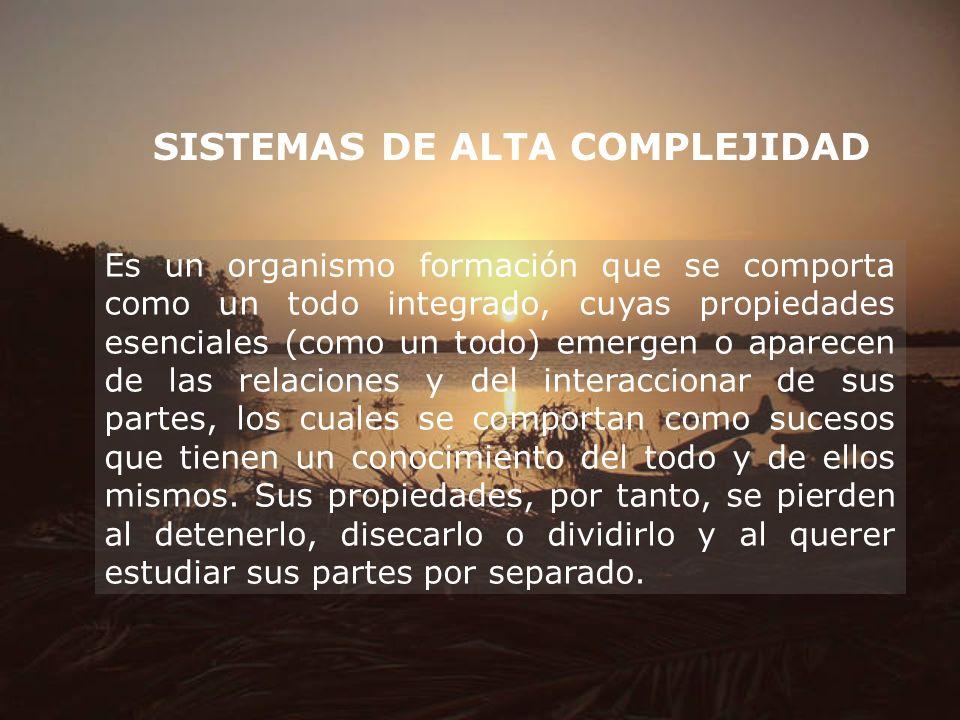 SISTEMAS DE ALTA COMPLEJIDAD Es un organismo formación que se comporta como un todo integrado, cuyas propiedades esenciales (como un todo) emergen o a