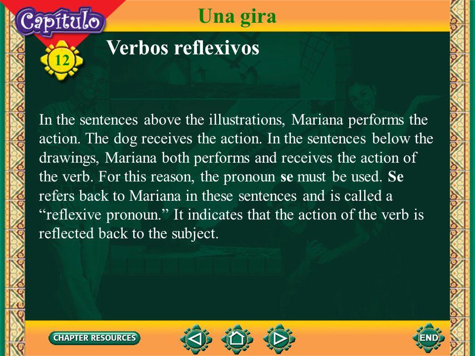 Verbos reflexivos 12 1. Compare the following pairs of sentences. Mariana baña al perro. Mariana se baña. Mariana cepilla al perro. Mariana se cepilla