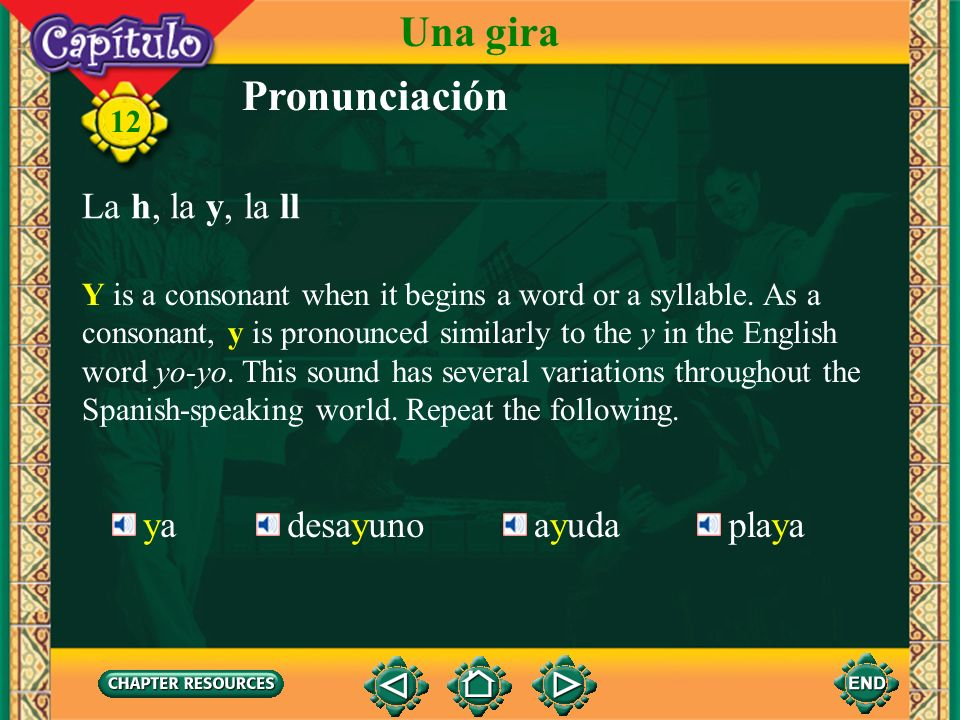 Pronunciación Y in Spanish can be either a vowel or a consonant. As a vowel, it is pronounced exactly the same as the vowel i. Repeat the following. 1