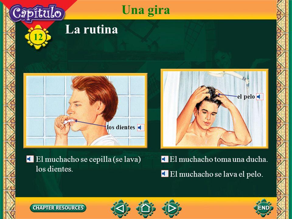 La rutina Una gira El muchacho se lava la cara. 12 El muchacho se afeita. Se afeita con la navaja. la cara la crema de afeitar la navaja