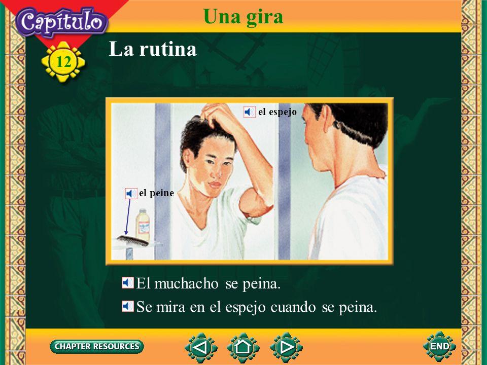 La rutina Una gira El muchacho se cepilla (se lava) los dientes. 12 El muchacho toma una ducha. El muchacho se lava el pelo. los dientes el pelo