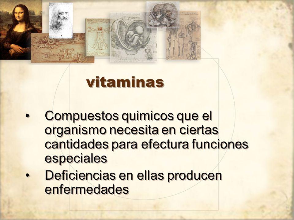 vitaminas Compuestos quimicos que el organismo necesita en ciertas cantidades para efectura funciones especiales Deficiencias en ellas producen enfermedades Compuestos quimicos que el organismo necesita en ciertas cantidades para efectura funciones especiales Deficiencias en ellas producen enfermedades