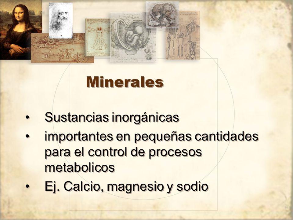 Minerales Sustancias inorgánicas importantes en pequeñas cantidades para el control de procesos metabolicos Ej.