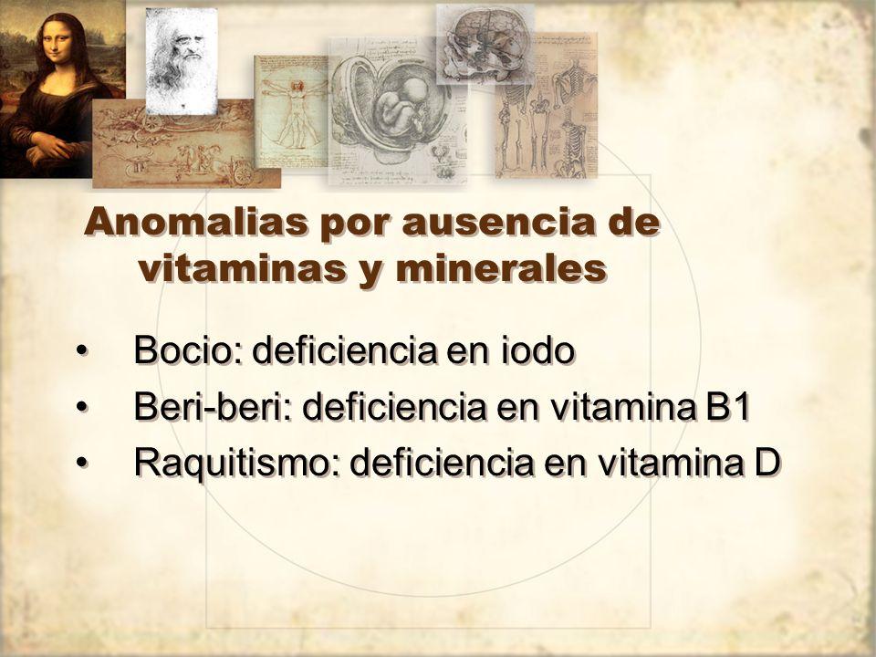 Anomalias por ausencia de vitaminas y minerales Bocio: deficiencia en iodo Beri-beri: deficiencia en vitamina B1 Raquitismo: deficiencia en vitamina D Bocio: deficiencia en iodo Beri-beri: deficiencia en vitamina B1 Raquitismo: deficiencia en vitamina D