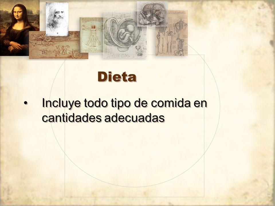 Dieta Incluye todo tipo de comida en cantidades adecuadas