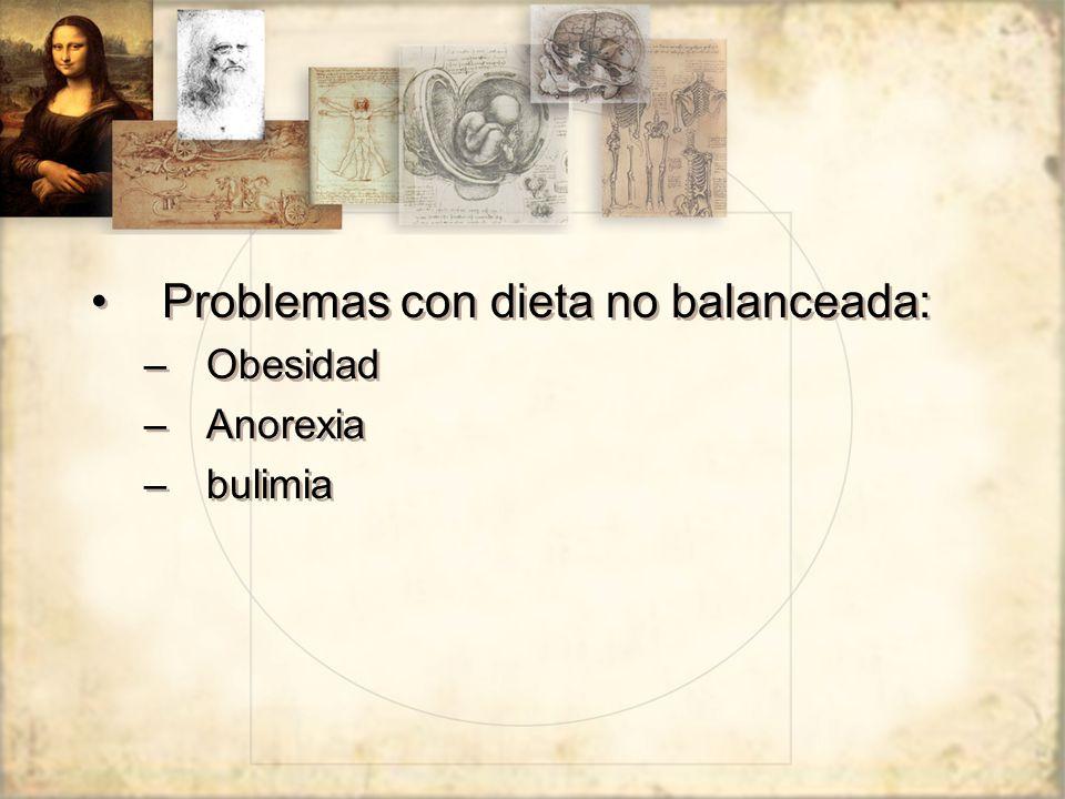 Problemas con dieta no balanceada: –Obesidad –Anorexia –bulimia Problemas con dieta no balanceada: –Obesidad –Anorexia –bulimia
