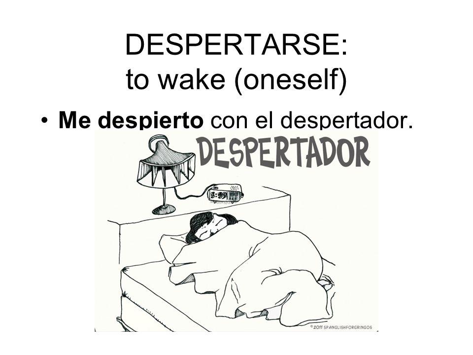 DESPERTARSE: to wake (oneself) Me despierto con el despertador.