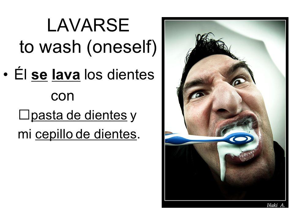 LAVARSE to wash (oneself) Él se lava los dientes con pasta de dientes y mi cepillo de dientes.