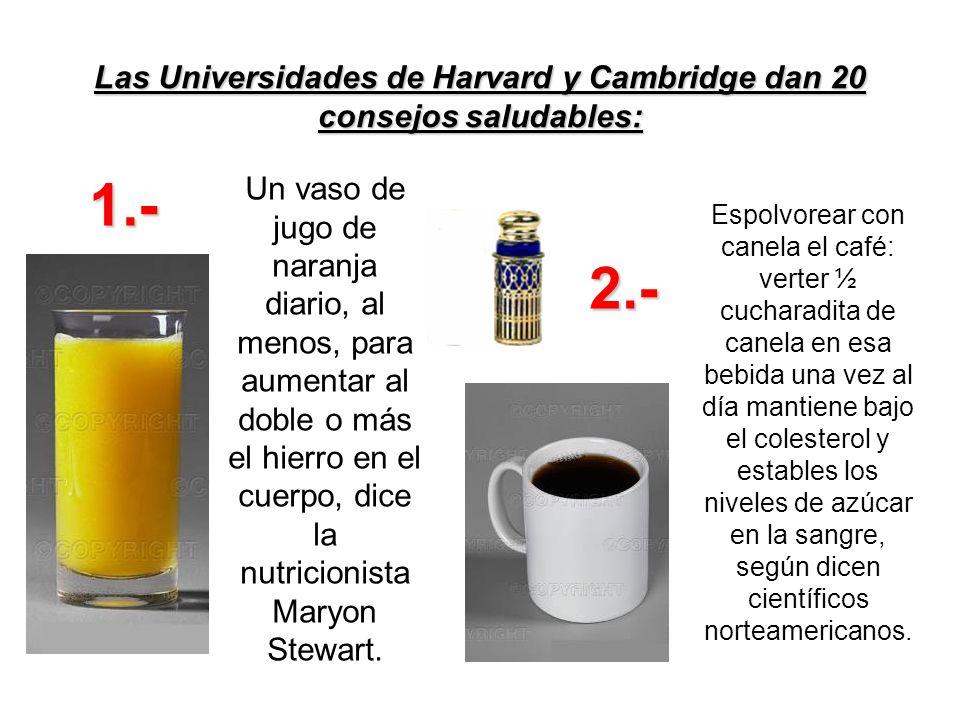 Las Universidades de Harvard y Cambridge dan 20 consejos saludables: Un vaso de jugo de naranja diario, al menos, para aumentar al doble o más el hier