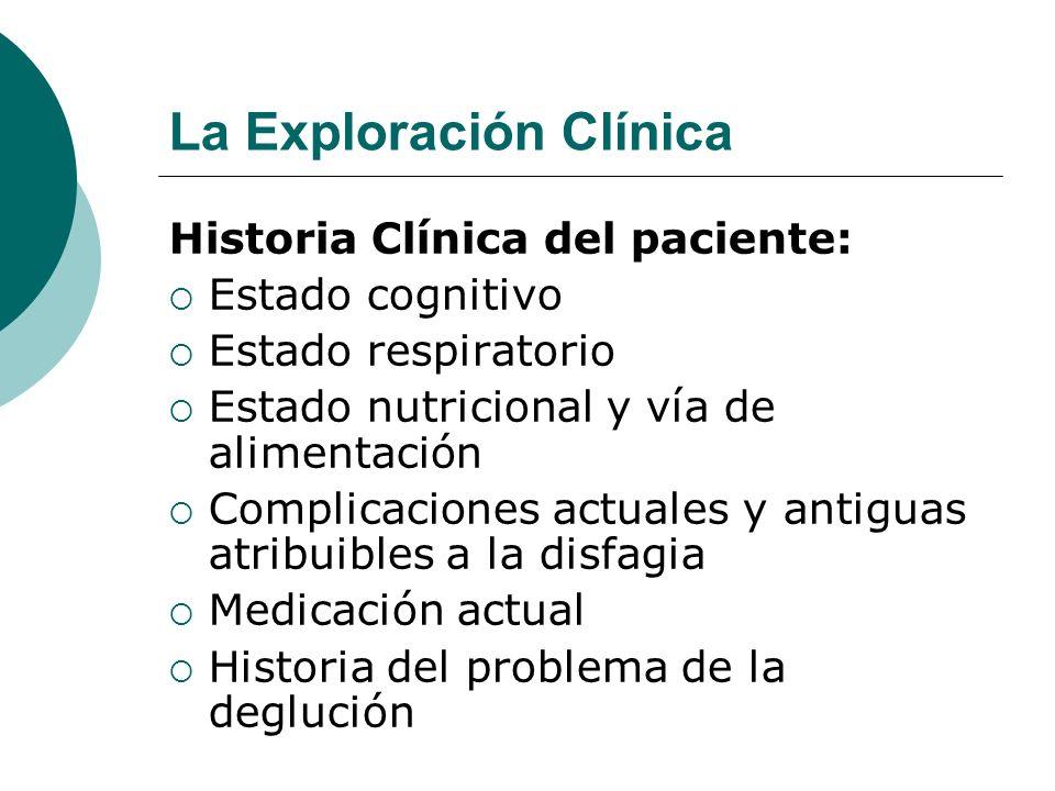 La Exploración Clínica Historia Clínica del paciente: Estado cognitivo Estado respiratorio Estado nutricional y vía de alimentación Complicaciones act