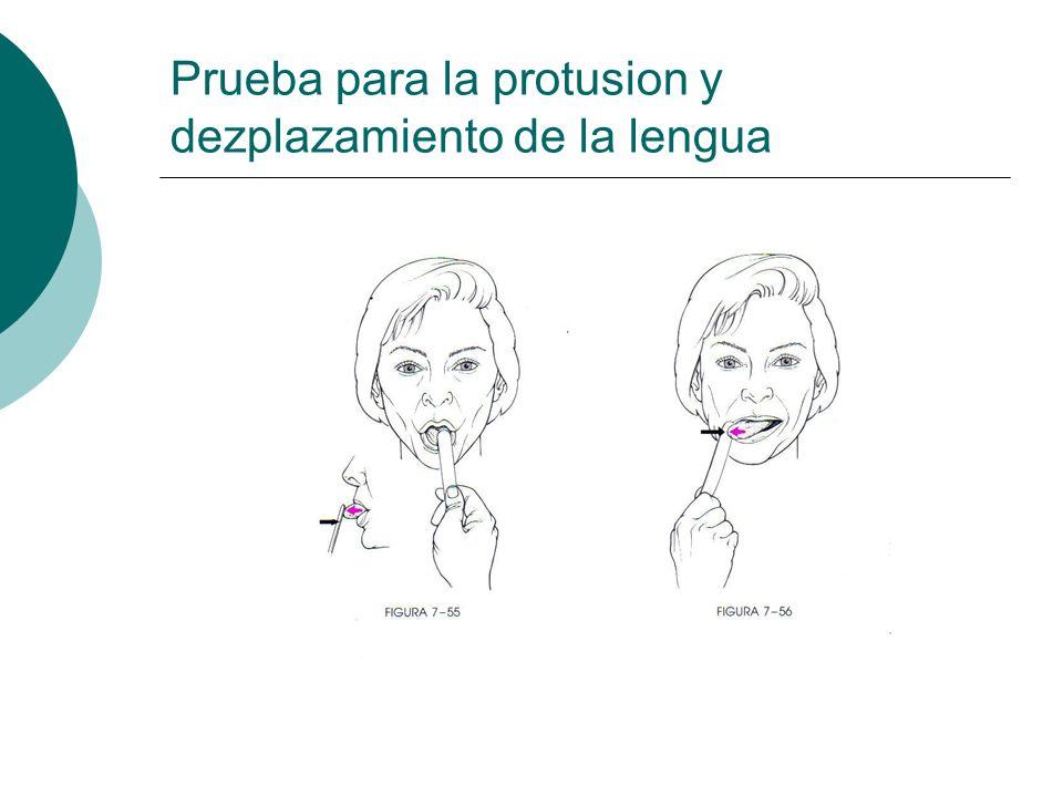 Prueba para la protusion y dezplazamiento de la lengua