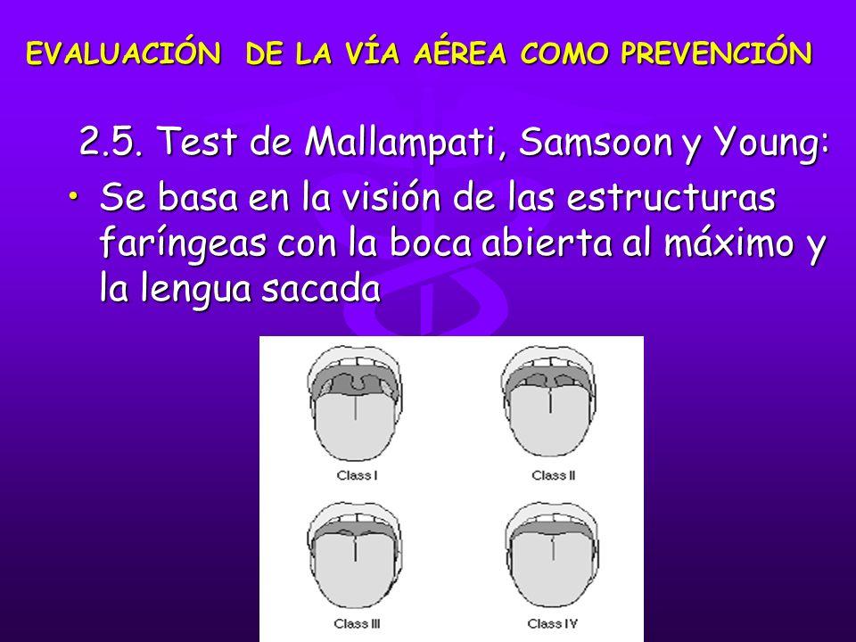 2.5. Test de Mallampati, Samsoon y Young: 2.5. Test de Mallampati, Samsoon y Young: Se basa en la visión de las estructuras faríngeas con la boca abie