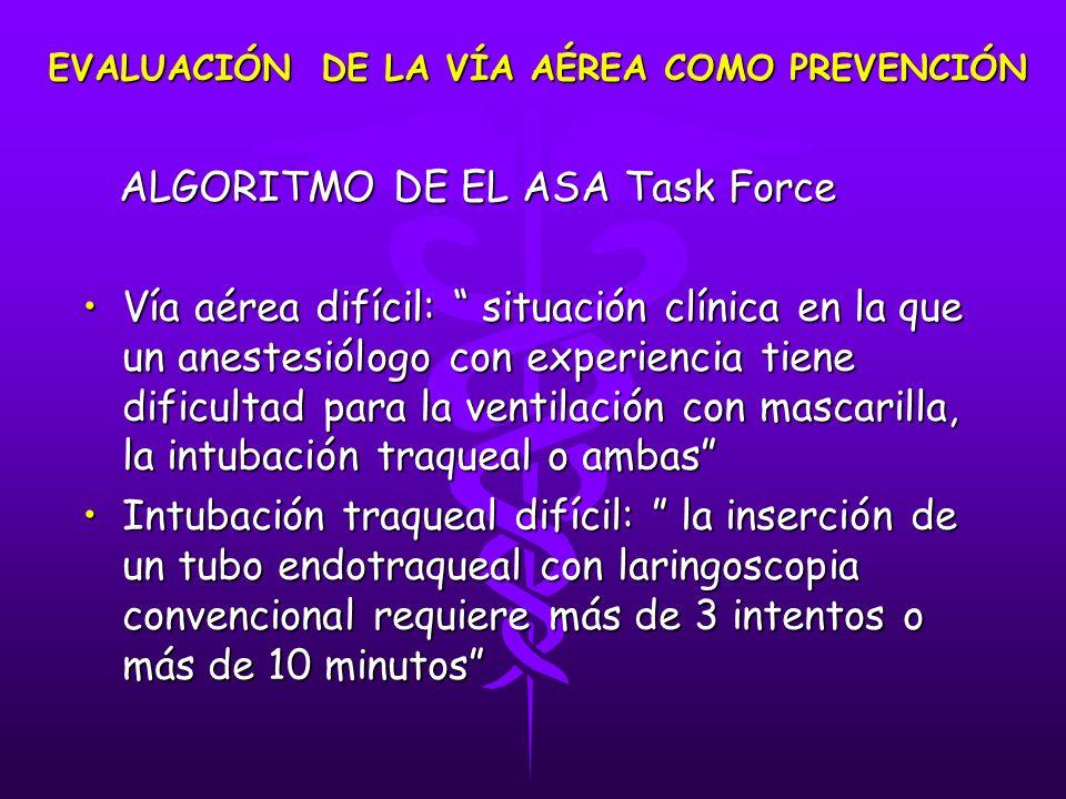 ALGORITMO DE EL ASA Task Force ALGORITMO DE EL ASA Task Force Vía aérea difícil: situación clínica en la que un anestesiólogo con experiencia tiene di