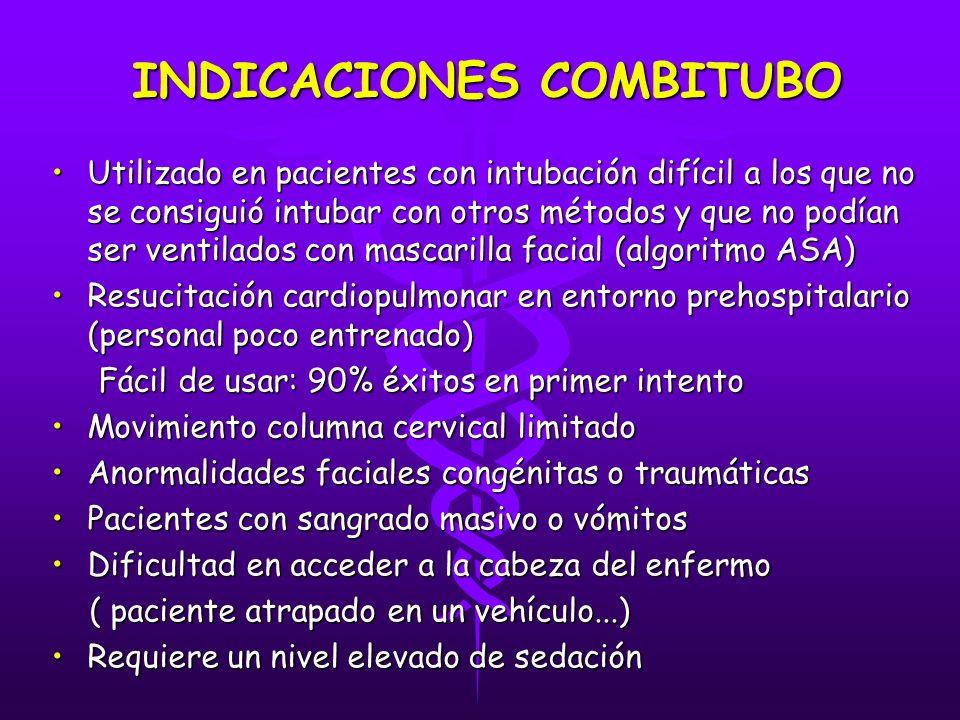 INDICACIONES COMBITUBO Utilizado en pacientes con intubación difícil a los que no se consiguió intubar con otros métodos y que no podían ser ventilado