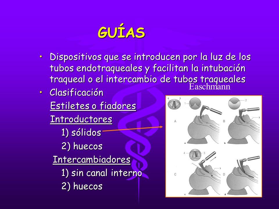 GUÍAS GUÍAS Dispositivos que se introducen por la luz de los tubos endotraqueales y facilitan la intubación traqueal o el intercambio de tubos traquea