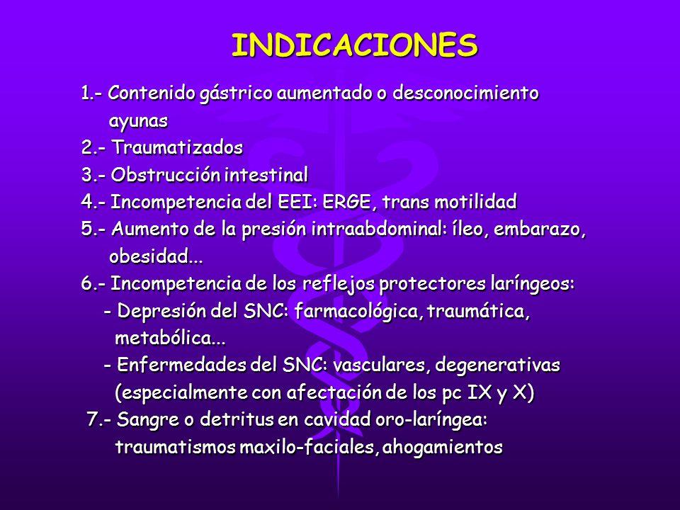 INDICACIONES 1.- Contenido gástrico aumentado o desconocimiento ayunas ayunas 2.- Traumatizados 2.- Traumatizados 3.- Obstrucción intestinal 3.- Obstrucción intestinal 4.- Incompetencia del EEI: ERGE, trans motilidad 4.- Incompetencia del EEI: ERGE, trans motilidad 5.- Aumento de la presión intraabdominal: íleo, embarazo, 5.- Aumento de la presión intraabdominal: íleo, embarazo, obesidad...