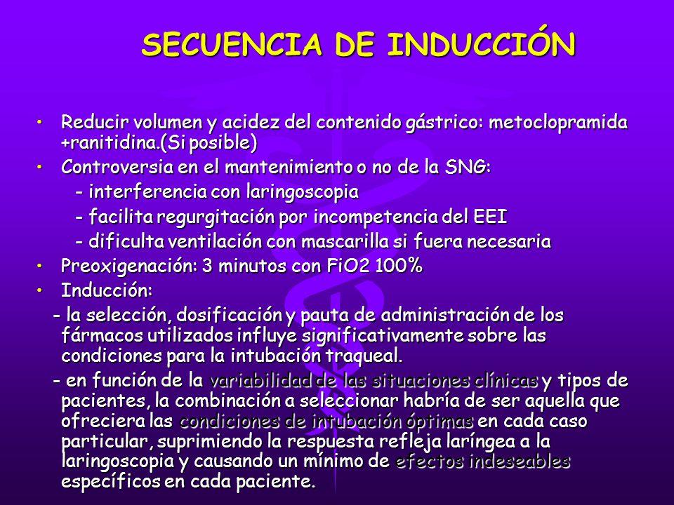 SECUENCIA DE INDUCCIÓN Reducir volumen y acidez del contenido gástrico: metoclopramida +ranitidina.(Si posible)Reducir volumen y acidez del contenido gástrico: metoclopramida +ranitidina.(Si posible) Controversia en el mantenimiento o no de la SNG:Controversia en el mantenimiento o no de la SNG: - interferencia con laringoscopia - interferencia con laringoscopia - facilita regurgitación por incompetencia del EEI - facilita regurgitación por incompetencia del EEI - dificulta ventilación con mascarilla si fuera necesaria - dificulta ventilación con mascarilla si fuera necesaria Preoxigenación: 3 minutos con FiO2 100%Preoxigenación: 3 minutos con FiO2 100% Inducción:Inducción: - la selección, dosificación y pauta de administración de los fármacos utilizados influye significativamente sobre las condiciones para la intubación traqueal.