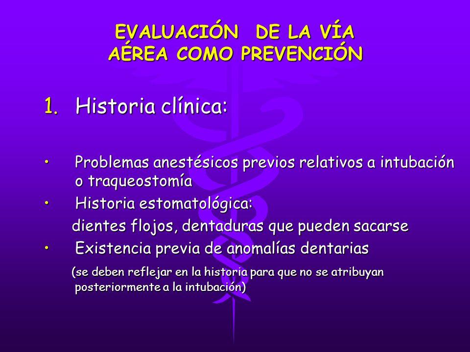 EVALUACIÓN DE LA VÍA AÉREA COMO PREVENCIÓN 1.Historia clínica: Problemas anestésicos previos relativos a intubación o traqueostomíaProblemas anestésic