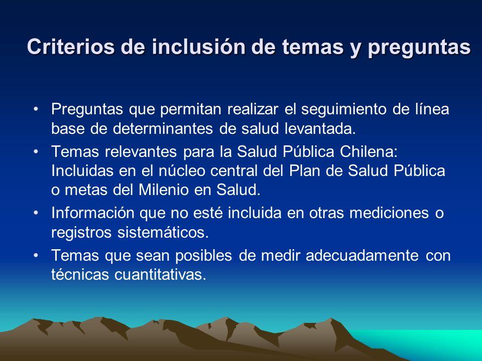 Criterios de inclusión de temas y preguntas Preguntas que permitan realizar el seguimiento de línea base de determinantes de salud levantada.