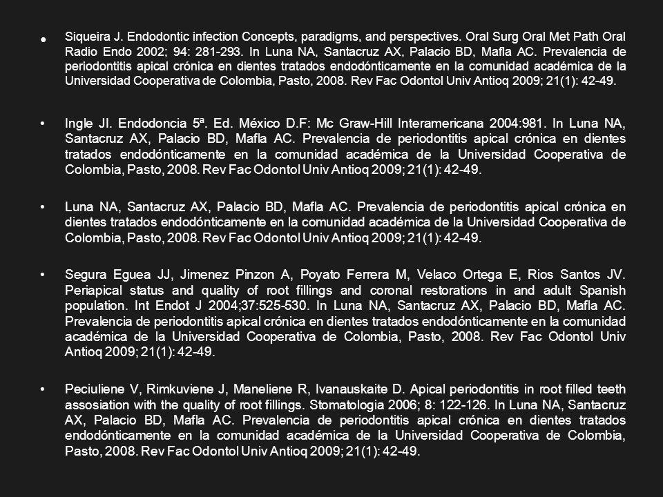 Siqueira J. Endodontic infection Concepts, paradigms, and perspectives. Oral Surg Oral Met Path Oral Radio Endo 2002; 94: 281-293. In Luna NA, Santacr
