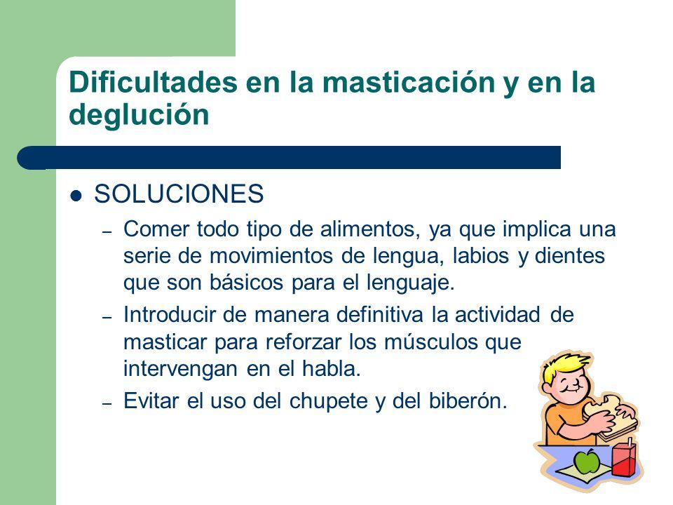 Dificultades en la masticación y en la deglución DIFICULTADES – Se puede producir una hipotonía de los músculos implicados en el movimiento de los lab