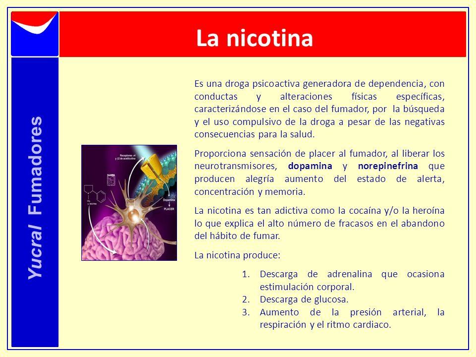 La nicotina Es una droga psicoactiva generadora de dependencia, con conductas y alteraciones físicas específicas, caracterizándose en el caso del fuma